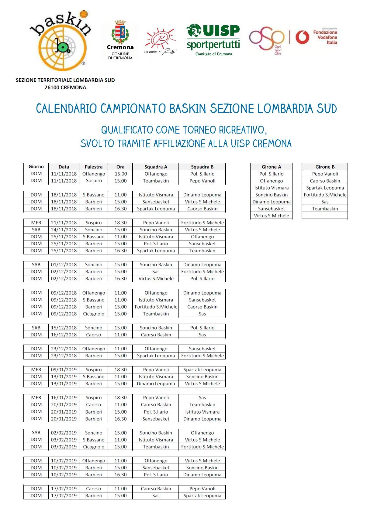 Calendario Cremonese.Il Calendario Del Campionato Cremonese Baskin